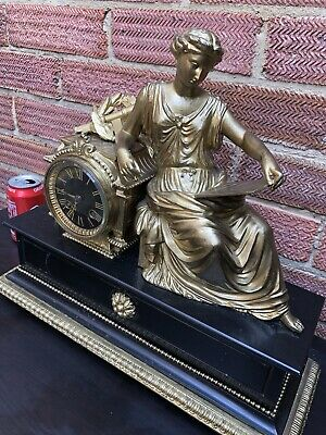 Antique French Clock Gilt Metal & Black Marble Astronomy Figure Fine Quality