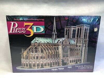 Puzz 3D Milton Bradley Notre Dame Cathedral Puzzle 1996 New Sealed