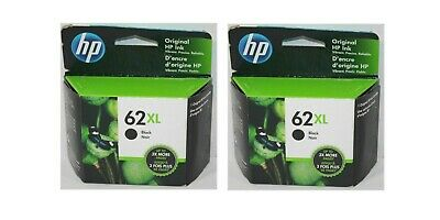 Twin Pack HP 62XL Black Ink Cartridge C2P05AN NEW GENUINE exp 2021