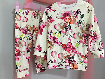 Lovely Girls Floral Cream Floral 2 Piece Top & Bottoms Outfit 2-3yrs🌸🌸