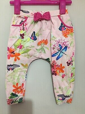 Baby Girls Designer Ted Baker Pink Floral Dragonfly Hareem Trousers 12-18m🎀