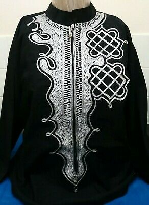 Unisex High Quality Black Cotton Embroidered Long Sleeved Top
