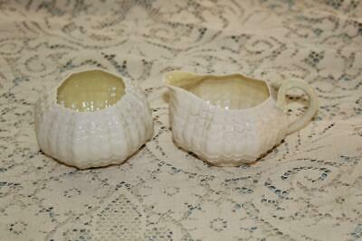 Belleek Ireland TRIDACNA Creamer & Open Sugar 1st Green Mark 1946-1955