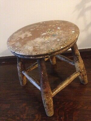 Antique Elm Milking Stool Victorian/early 20th Century Farmhouse Paint