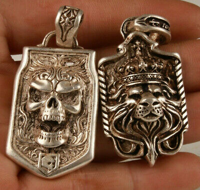2 Chinese Tibetan Silver Hand Carving Skull Lion King Pendant Cool Collection