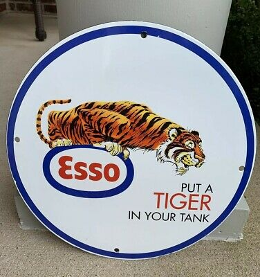 Esso Put Tiger In Your Tank Porcelain Gas Oil Sign No Reserve