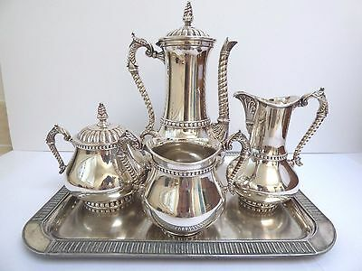 Early Victorian Silver Plate Chocolate Set James W. Tufts Oriental Motif Tray