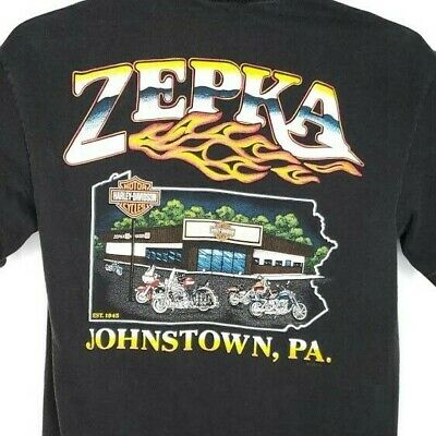 Zepka Harley Davidson T Shirt Vintage 90s Johnstown PA Made In USA Size Medium