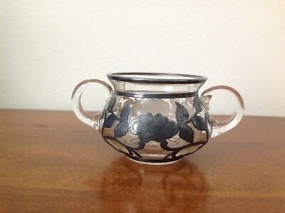 Antique Small Bowl With Sterling Silver Overlay--Very Pretty!!!