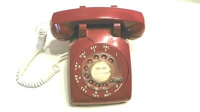 vtg red rotary western electric phone works