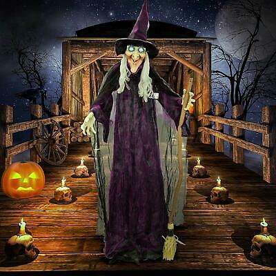 Halloween Haunters 6 Foot Animated Standing Speaking Scary Evil Wicked Witch Bro