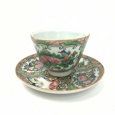 Vintage/Antique Chinese Rose Medallion Tea Cup & Saucer 1890-1915