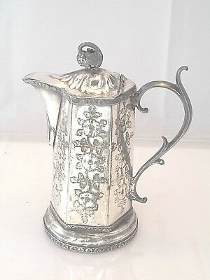 Hard To Find Octagonal Victorian Syrup Honey Pitcher Chased Grapes