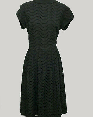 Black Eyelet Dress Vintage  Fit Flair Round Neck Short Sleeves Fully Lined Zips