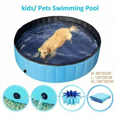 Red//Blue, /φ100*30H Fuloon Foldable Dog Paddling Pool Puppy Cats Swimming Bathing Tub Pet Children Kid Ball Water Ponds