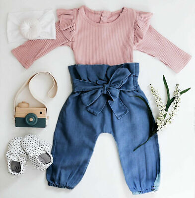 UK 2PCS Toddler Kids Baby Girls Ruffle Tops Denim Pants Winter Outfits Clothes