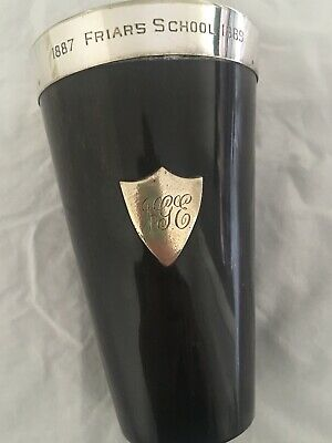 Antique Cow Horn And Silver Beaker