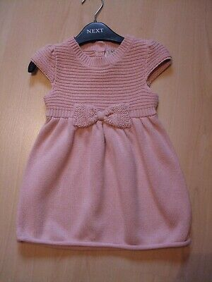 "NEXT DUSKY PINK ""BOW"" THEME JUMPER DRESS  AGE 12 - 18  months"