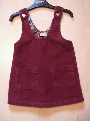 NEXT WINE COTTON CORD PINAFORE DRESSFLORAL LINING   AGE 12 - 18  months
