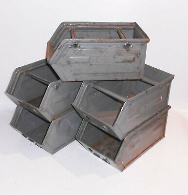 1 von 5 Stapelbox Werkzeug Metall Lagerkiste Regal Box Industrie Design Loft