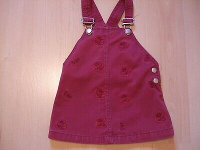 "F & F DEEP PINK COTTON ""ROSE"" THEME PINAFORE DRESS  AGE 12 - 18  months"