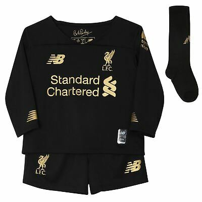 Liverpool FC Home Kit Black Infant Football Goalkeeper Kit 19/20 LFC Official
