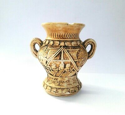 Very Rare Egyptian Antique Vase Ancient Pharaoh Small Art Carved Figurine Vessel