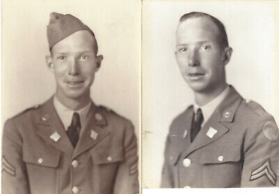 Pair of WW2 Photographs - U.S. Army Air Corps Soldier - 'Pinwheel' patch - WWII