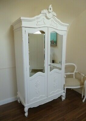 French Bordeaux Double Armoire Wardrobe In White - Shabby Chic Double Wardrobe