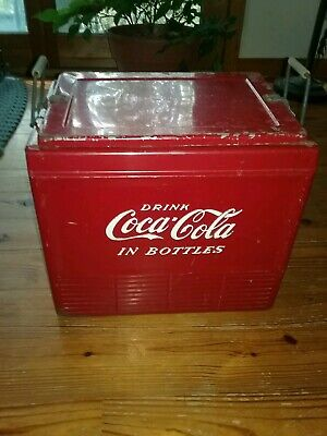 VINTAGE COCA COLA METAL COOLER RARE... Progress Refrigerator co. Louisville, Ky.