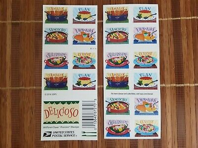 Delicioso Book of 20 USPS one-ounce rate Forever Postage Stamps Latin Food Tradi