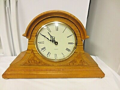 Quartz Wood Mantle Shelf Clock-Toed Dome Style-Is Working