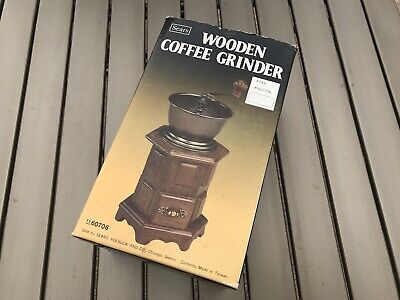 New Sears Coffee Grinder Manual Hand Operated Pepper Bean Spice Herbs Wooden