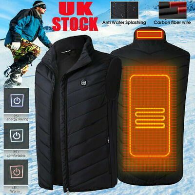 Mens Women Warmer Electric Vest Heated Cloth Jacket USB Warm Up Heating Pad Body