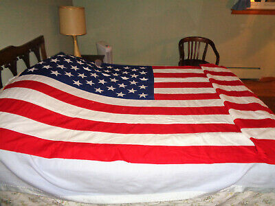 Vintage American Flag 10' x 15' Valley Forge Best Sewn Stars & Stripes Cotton