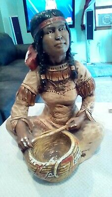 Lg. Antique Chalkwear Native American Woman With Papoose ,Very Old, Very Nice!