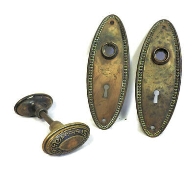 Antique Matching Brass Victorian Door Knob Set And Backplates Back Plates Oval