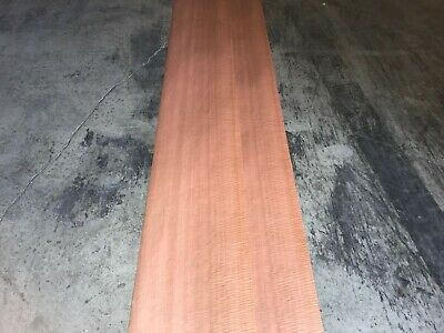 Fiddleback Makore Wood Veneer. 14 x 113, 4 Sheets.