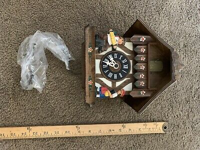 Vintage German Animated Black Forest Chalet Musical Weight Driven Cuckoo Clock
