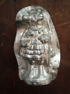 """Antique Metal Chocolate Mold LADY PIG with Dress and Pearls Umbrella Candy 5"""""""