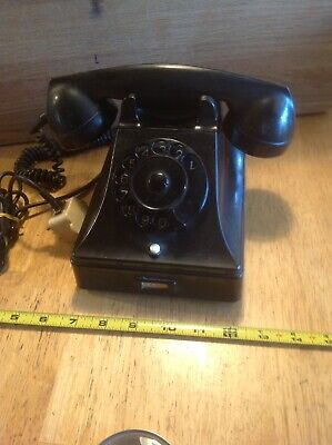 Vintage PTT Black ROTARY PHONE Made Holland Antique Telephone Cord Collectible