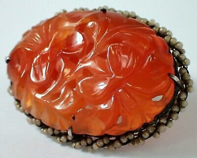 Antique Vtg Chinese Silver Carved CARNELIAN Seed Pearl Pierced Scarf Dress Clip