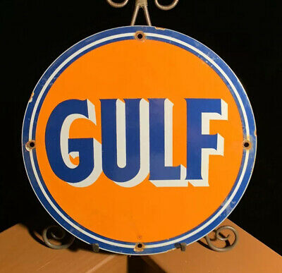 Vintage Gulf Gasoline Porcelain Sign, Service Station, Gas, Oil
