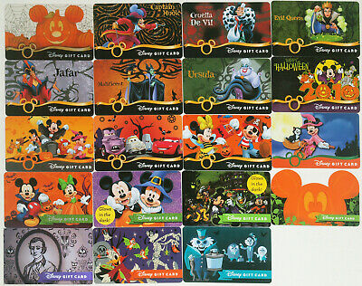 All 19 Disney Halloween Gift Cards 2008-2019: Villains, Glow, Haunted Mansion ++