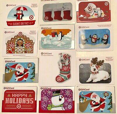 Lot /12 Target Christmas Gift Cards Bullseye Dog,Santa+ (No $ Value-Collectible)