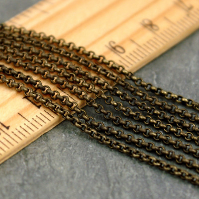 4ft Antique Bronze Plated Brass Bronze Rolo Chains Rollo Jewelry Making c188b