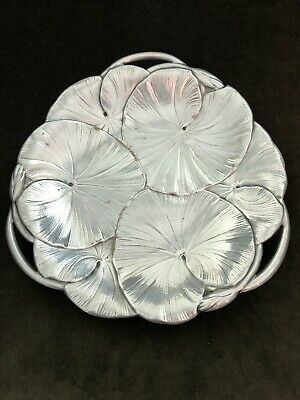 "Antique Wilcox International Silver 9.5"" Lily Pads Cake Plate #5698 Circa, 1930"