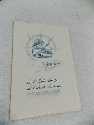 Vintage Collectible Menu S.s. South American The Georgian Bay Line Captains Dinn