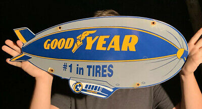 Vintage Goodyear Tires Porcelain  Aviation Blimp Service Sales Sign