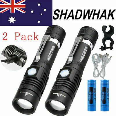 2 Packs Flashlight CREE XM-L T6 LED Torch USB Bike Rechargeable 60000LM Shadwhak